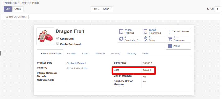 Inventory valuation and product categorization in odoo