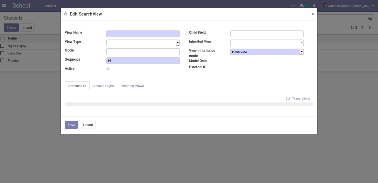 building module in odoo v12 defining search view and filters