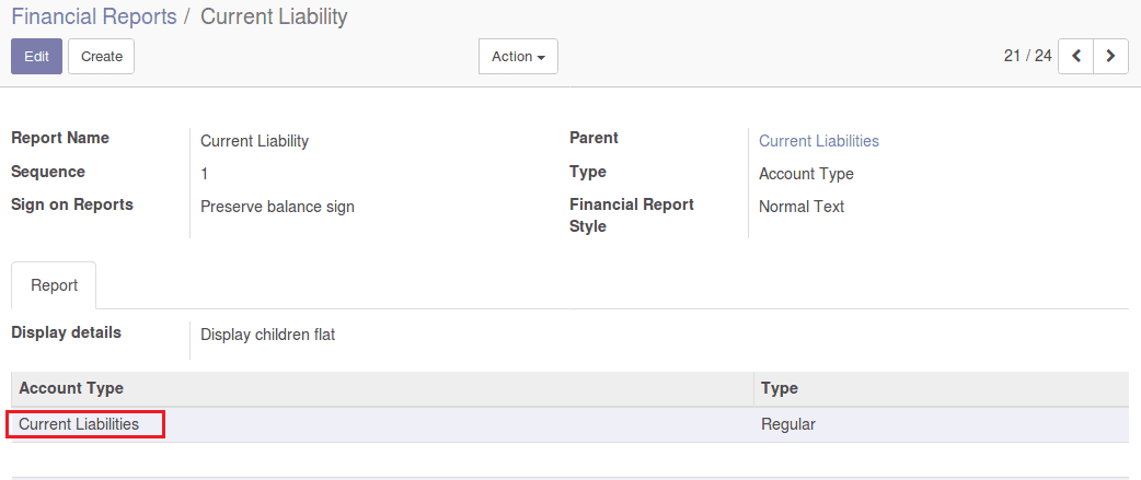 financial report configuration in odoo