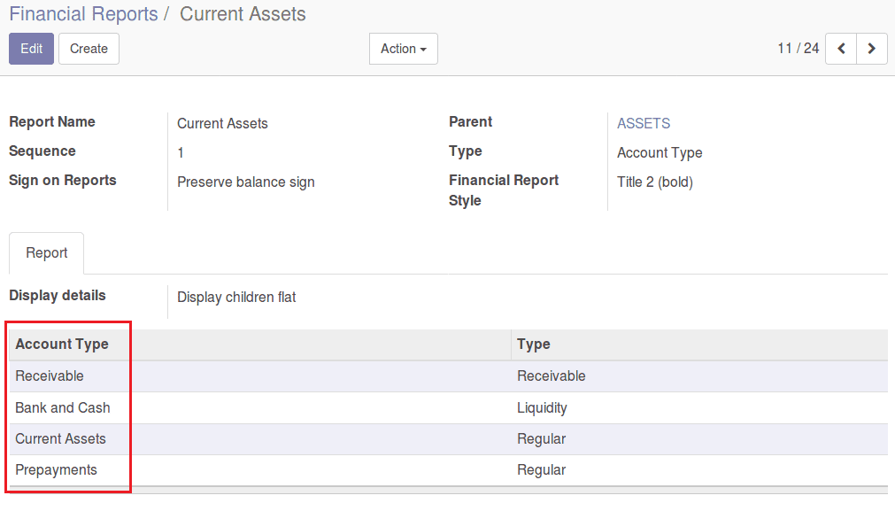 Financial Report Configuration in Odoo Accounting