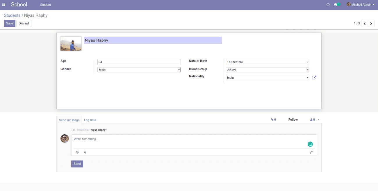 how to add chatter to form view in odoo v12
