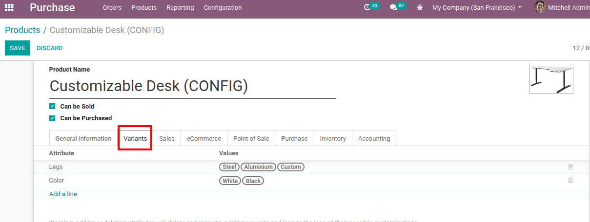 configure products in odoo 14