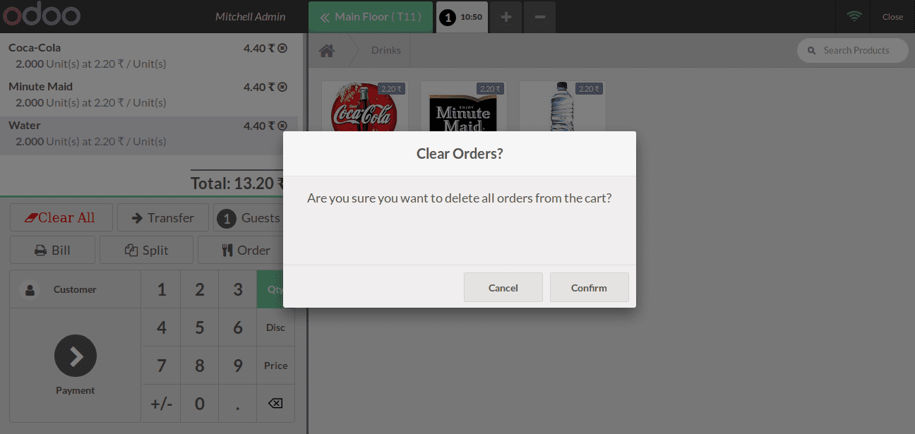 how to remove orderlines in odoo pos