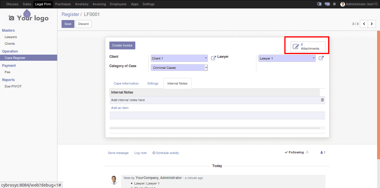 legal case management in odoo