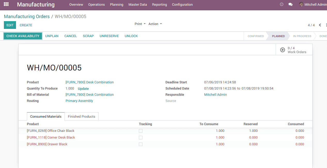 multi-step production in odoo v12