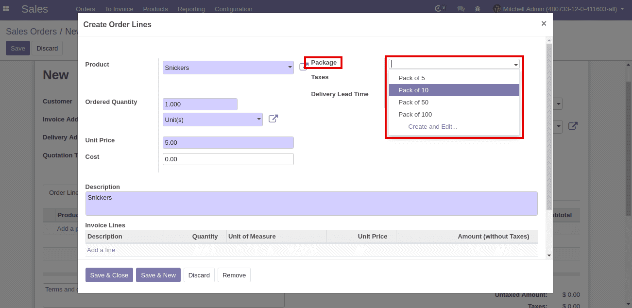packages in odoo v12