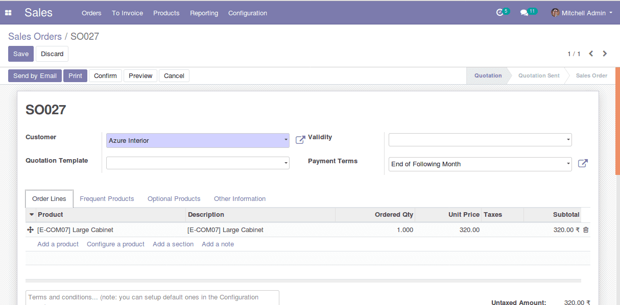 product recommendation in sales order-odoo apps