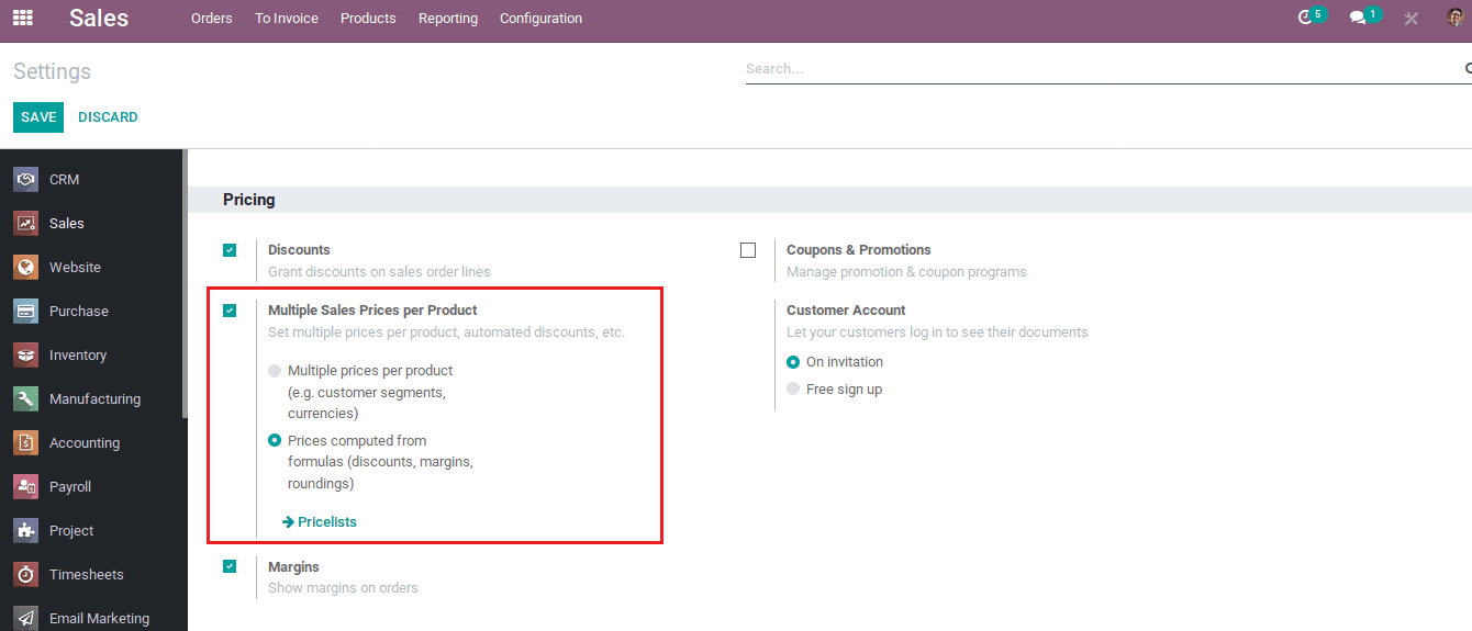 sales pricelist management in odoo