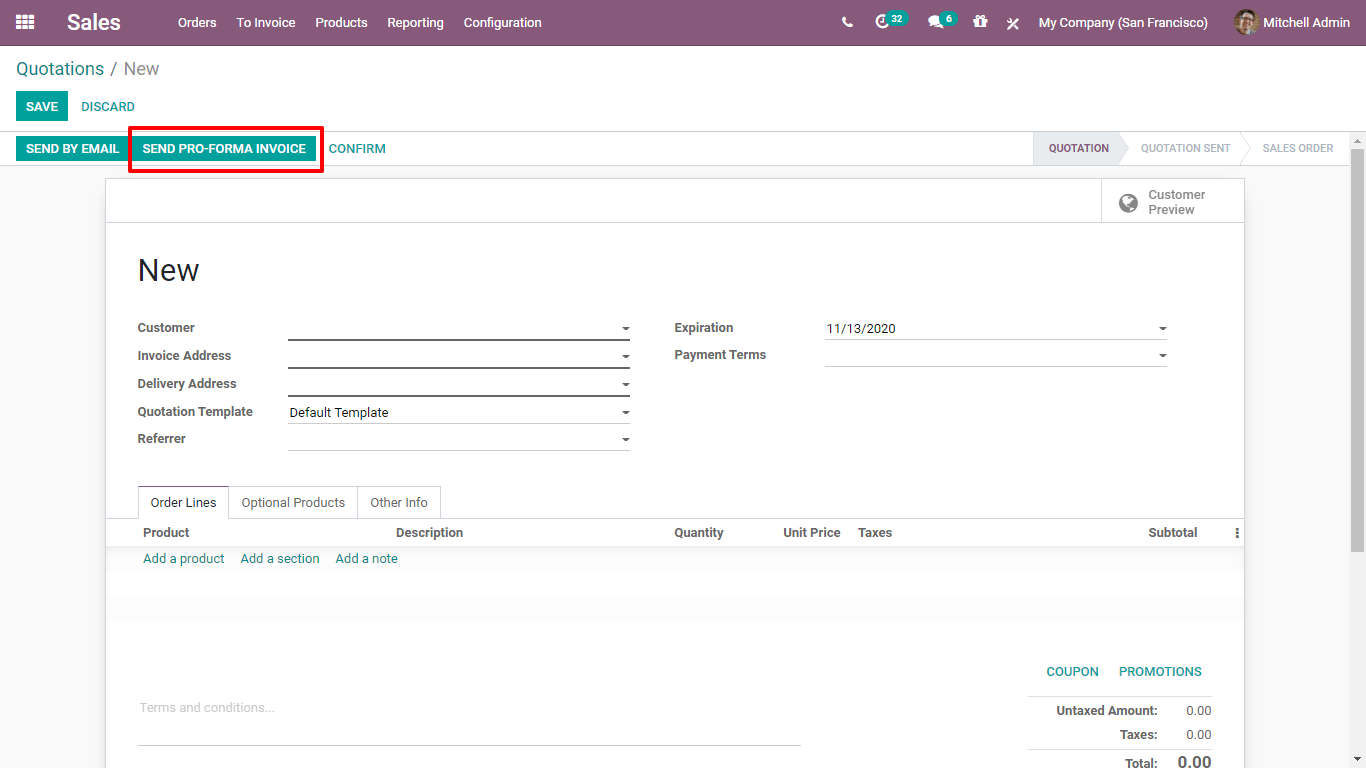 what-is-pro-forma-invoice-in-odoo-14